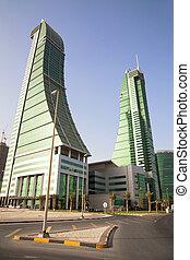 bahrein, torres, financiero, puerto, manama