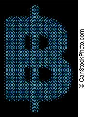Baht Composition Icon of Halftone Bubbles - Halftone Baht...
