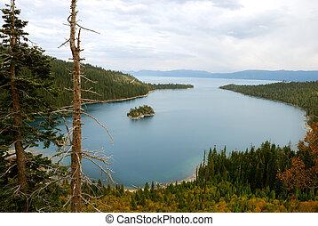 baia smeraldo, su, lago tahoe