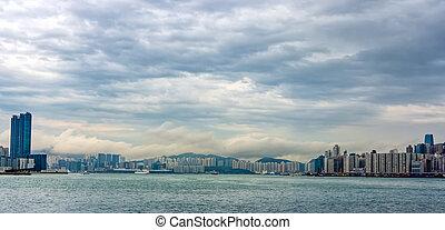 baia, sopra, nubi, scyline, città, tempestoso, hong kong