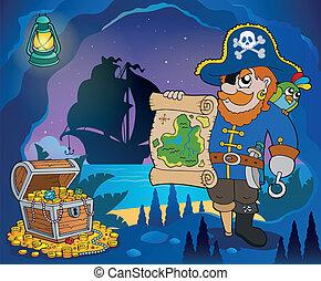 baia, tema, 4, immagine, pirata