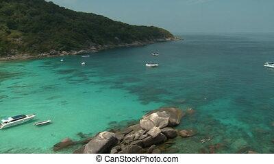 baie, gens, mer andaman, bateaux