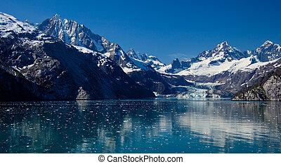 baie, glacier, approchant