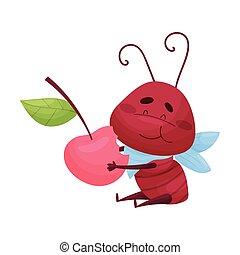 baie, illustration, caractère, fond, dessin animé, fourmi, manger, vecteur, blanc, isolé