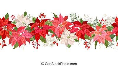 baies, étoile, branche, bannière, noël, aquarelle, vacances, noël, vecteur, poinsettia, hiver, fleurs, saison, floral, fond, seamless, cadre, guirlande, pin, frontière, décoration, rowan
