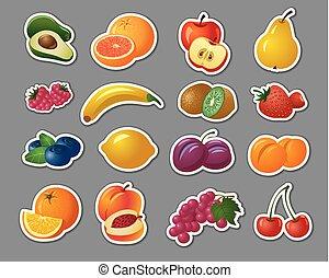 baies, autocollants, fruits