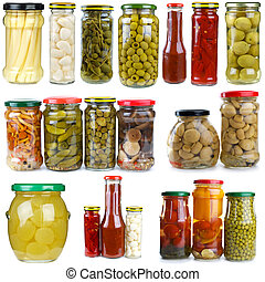 baies, différent, ensemble, légumes, champignons, verre, conserved, pots