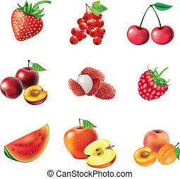 baies, ensemble, fruits rouges