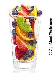 baies, fruits, frais, salade, verre
