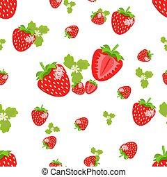 baies, illustration., textiles, modèle, feuilles, seamless, labels., arrière-plan., vecteur, conception, fleurs blanches, affiches, fraise