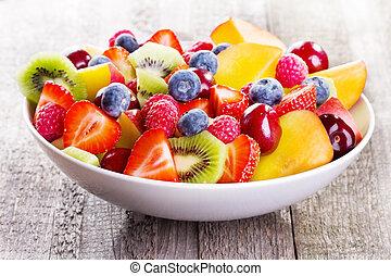 baies, salade, fruits