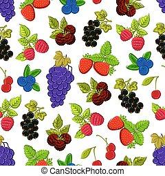 baies, seamless, fond, fruits