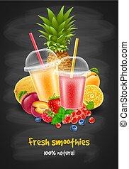 baies, smoothie, fruit