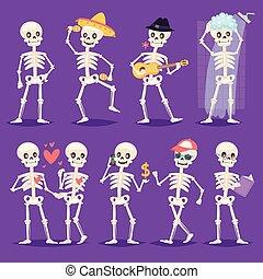 baigner, ensemble, mexicain, squelette, gens, mort, humain, os, danse, caractère, isolé, agréable, couple, musicien, illustration, fond, dessin animé, osseux, crâne, squelettique, vecteur, ou