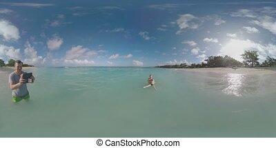 baigner, famille, île, prendre, océan vacances, île maurice, vr, vidéo, enfant, 360