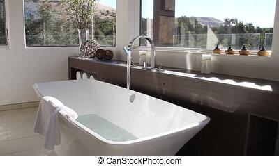 baignoire, salle bains, moderne, remplissage, luxueux
