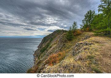 baikal, île, orageux, sibérie, day., nuageux, olkhon, khoboy, cap, russie, paysage