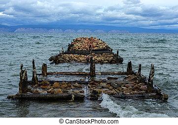 baikal, 古い, 島, siberia, olkhon, 桟橋, ロシア