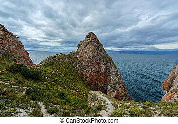 baikal, 島, 嵐である, siberia, day., 曇り, olkhon, khoboy, 岬, ロシア, 風景