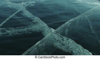 Baikal Ice. - Ice Block Crash on Ice Surface