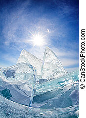 Baikal Ice - Ice on blue sky background