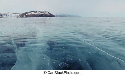 Baikal ice. - Winter Baikal lake in Siberia, slider shoot