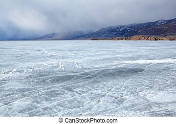 baikal in winter - outdoor view of frozen baikal lake in...