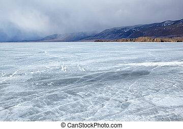 baikal in winter - outdoor view of frozen baikal lake in...