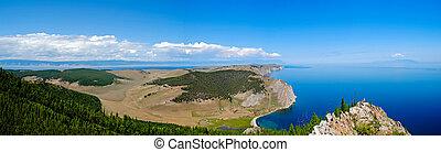 baikal, insjö, sommar, landskap, synhåll, från, a, klippa, ryssland