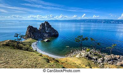 baikal, lac île, rocher, olkhon, chaman, russie