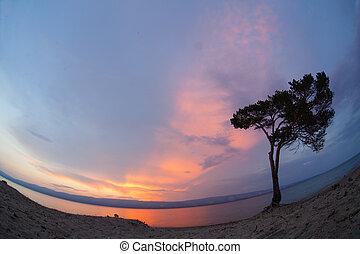Baikal lake. Summer sunset on Olkhon Island
