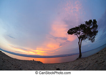 Baikal lake. Summer sunset on Olkhon Island