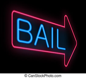 Bail sign. - Illustration depicting a neon signage with a ...
