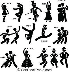 bailando, bailarín, pictogram