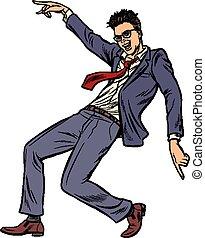 bailando, baile, club de la disco, businessman., música
