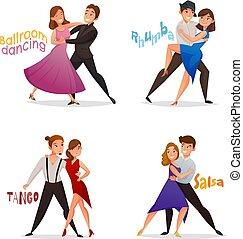 bailando, caricatura, conjunto, retro, pares