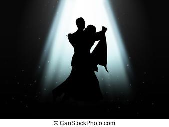 bailando, debajo, el, luz
