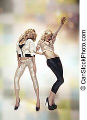 bailando, dos, sexy, mujeres