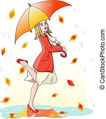 bailando, en la lluvia