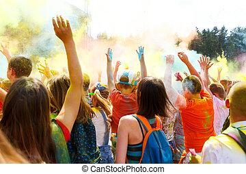 bailando, gente, no, el, anual, holi, fiesta