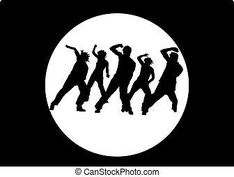 bailando, gente, siluetas