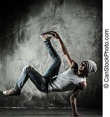 bailando, joven, b-boy, freno, movimientos, hombre