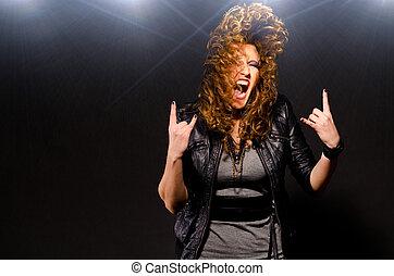 bailando, música, roca