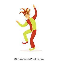 bailando, medieval, colorido, carácter, bufón, ilustración, tradicional, vector, disfraz, europeo