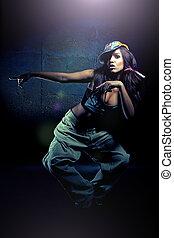 bailando, moderno, joven, bailes, niña, agradable