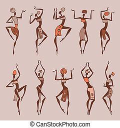 bailando, mujer, en, étnico, style.
