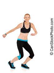 bailando, mujer, zumba, condición física