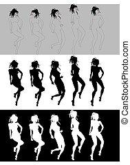 bailando, niña, secuencia