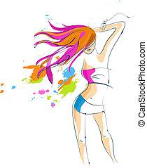 bailando, niña, silueta, con, un, pelo largo