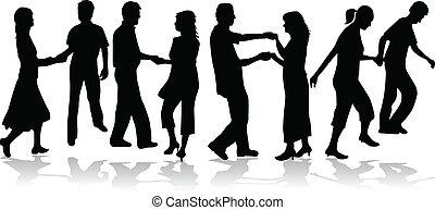 bailando, pareja, colección, vector